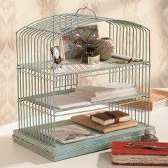 bird cage turned into organizer - cute!