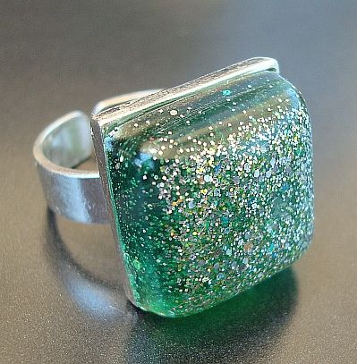 Girl's Gotta Have it Resin & Sterling Silver Ring in Green
