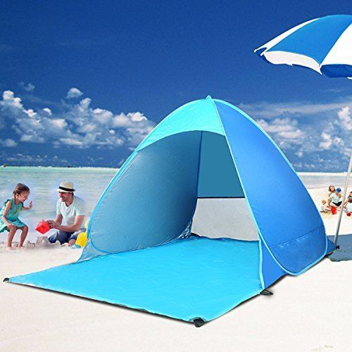 I just bought this and love it. BATTOP Automatic Pop Up Portable Outdoors Family Beach Tent Quick Cabana Sun Shelter UPF 50+ . you can see what others said about it here http://bridgerguide.com/battop-automatic-pop-up-portable-outdoors-family-beach-tent-quick-cabana-sun-shelter-upf-50/