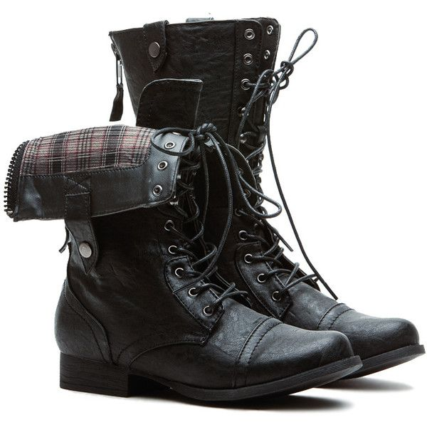 CiCiHot Plaid It Up Black Fold Over Faux Leather Combat Boots (€19) ❤ liked on Polyvore featuring shoes, boots, footwear, mid calf combat boots, black lace up boots, army boots, fold-over combat boots and military boots