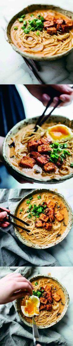 Homemade Spicy Ramen With Tofu - chicken, healthy, mushroom, ramen, recipes, tofu