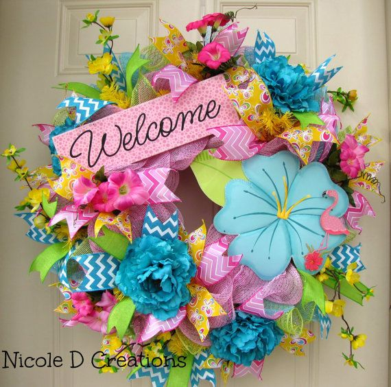 Spring Summer Pink Deco Mesh Wreath Welcome by NicoleDCreations