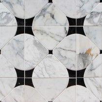 Highland Floret Black and Statuario Marble Tile $46.95  TileBar 2017 for entryway