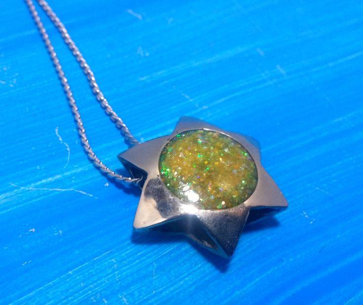 star, star of david ,colorful,  yelow necklace, jewish symbol, star of davis. Maguen david Davids star. Maguen david Necklace davids s by MAGUILAART on Etsy