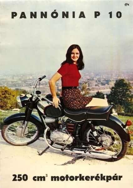 Pannónia P 10 250 CM motorkerékpár szocreál plakát