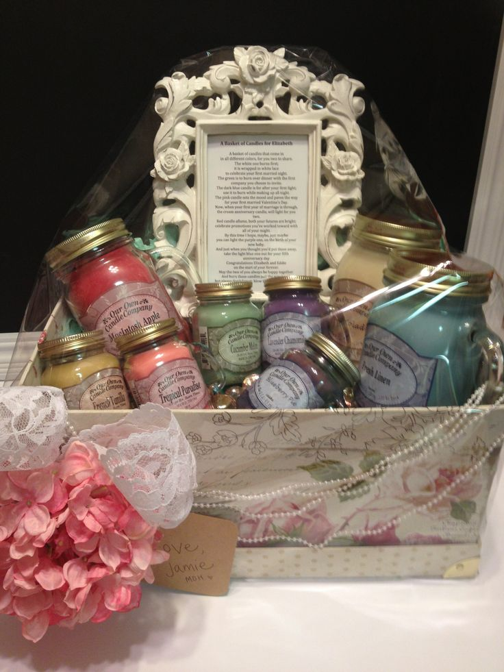 Basket of candles with poem for newlyweds. | jaaamee ...