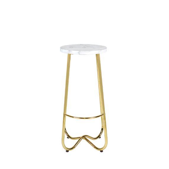Aura stool marble w gold base - Dann Event Hire