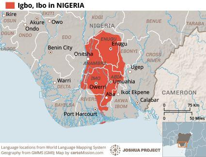 Igbo in Nigeria map