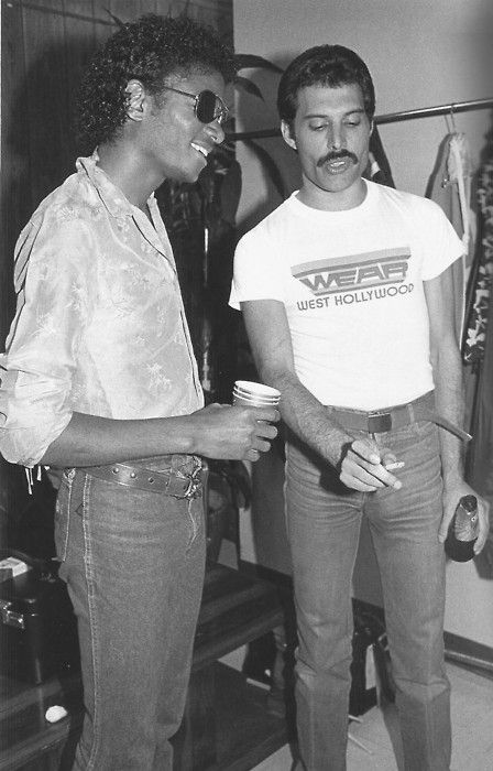 MIKE & FREDDY  Freddie Mercury and Michael Jackson backstage at a Queen concert, 1980.