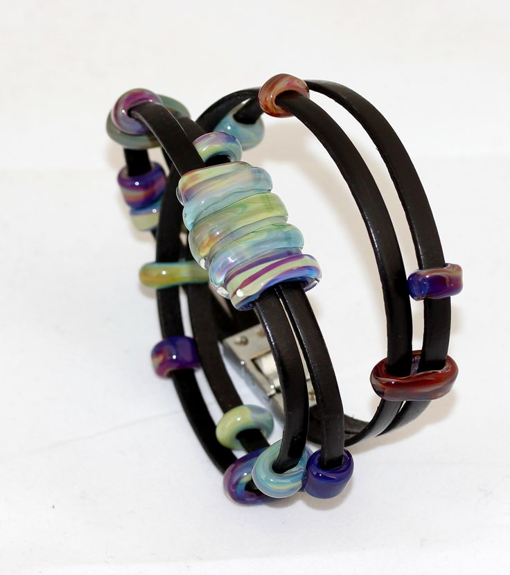 Black leather bracelet with flat glass beads