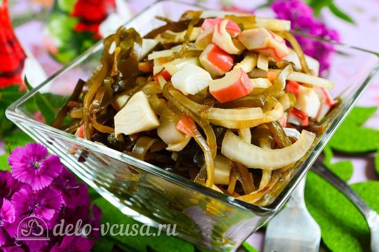 Cалат с морской капустой и крабовыми палочками #салат #морскаякапуста #рецепты #деловкуса #готовимсделовкуса