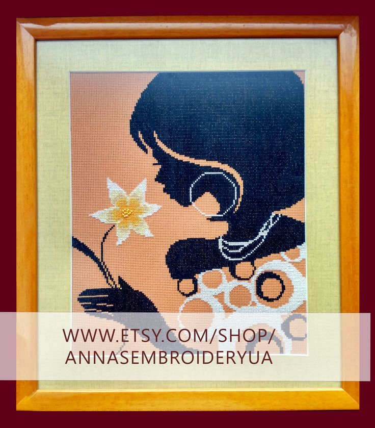 Woman with flower. Framed beaded embroidery (completed) made by hands. Wooden frames, anti glare glass.