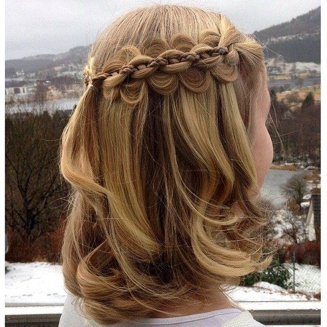 Five strand braids (middle being an English braid) from both sides joined in the back