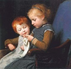 "https://flic.kr/p/xiwUZm | Albert Anker ""The little knitters"" 