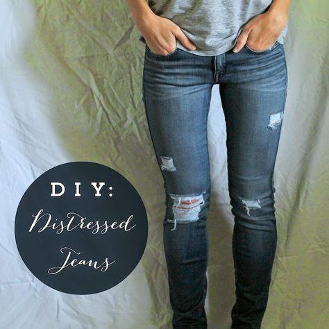 DIY Distressed Jeans #jeans #DIY