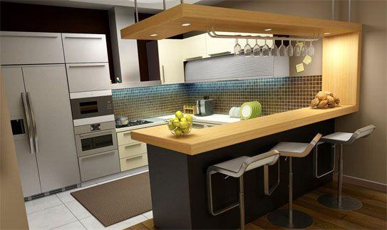 cocinas modernas pequeñas con barra