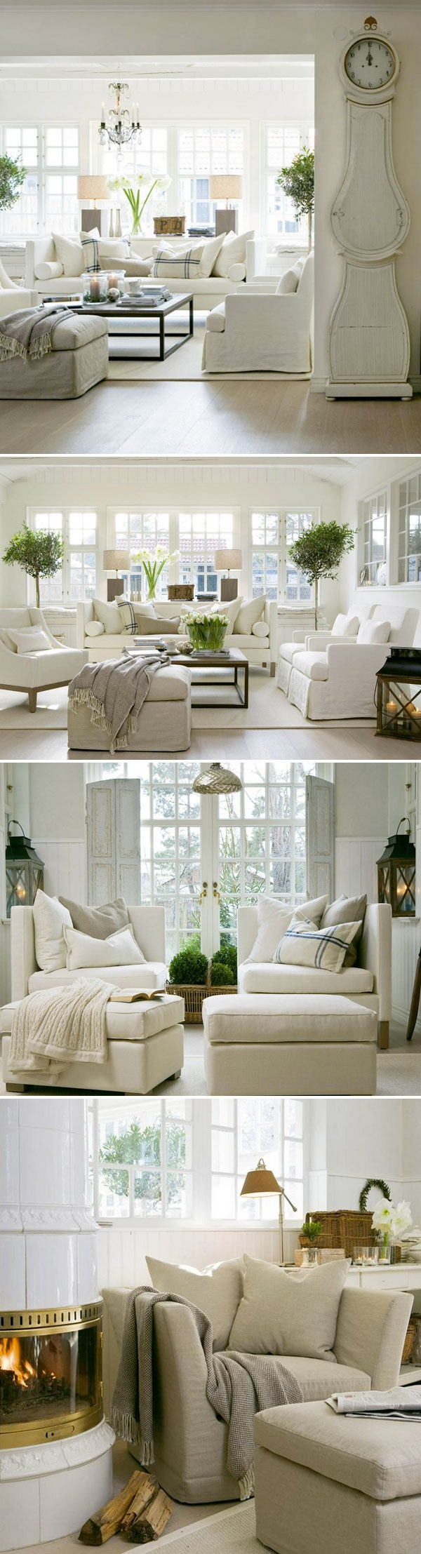 Gorgeous white design by Slettvoll. Check out that amazing giant clock! Love all the lanterns and plants, too. | #whites