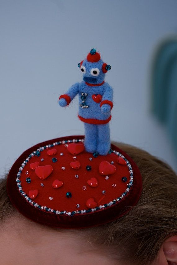 Needle felted robot hat: quirky retro fascinator by TallBlueStarry