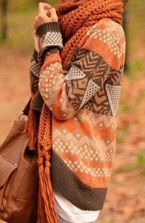 Wednesday look - a touch of orange. A beautiful contrast of burnt orange and earthy tones.  Perfect for any autumn occasion