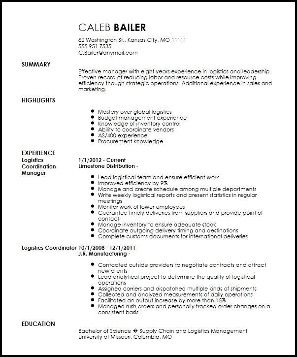 Free Traditional Logistics Coordinator Resume Template In 2020 Job Resume Samples Security Resume Job Resume Template