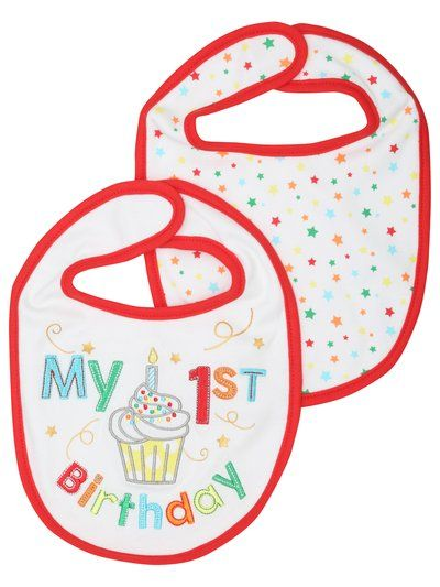 My First Birthday Bib Two Pack