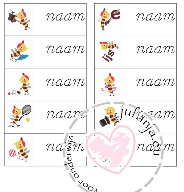 Klassenthema 'Zoem': naamkaartjes - blokschrift of schrijfschrift-