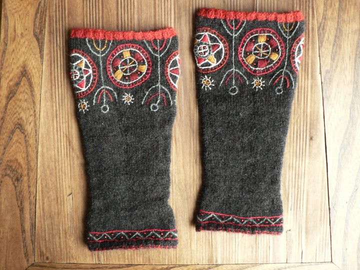 Mulgi wristlewarmers made specially for Estonian poetress Kristiina Ehin- embroided on the knittings.