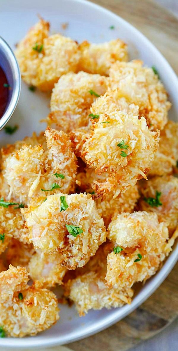Parmesan Baked Popcorn Shrimp – Easiest and crispiest popcorn shrimp with no deep frying. Healthy and yummy | rasamalaysia.com