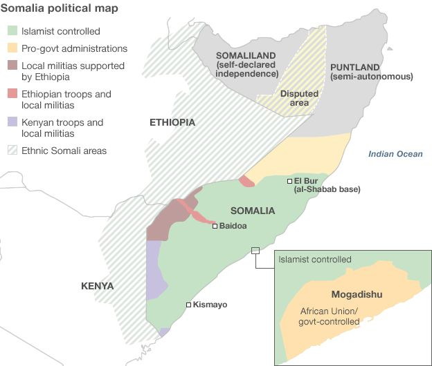 Political map of Somalia after 22 years of Civil War