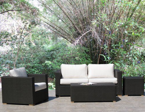 "Peyton Black Outdoor Patio Resin Wicker Sofa Lounge Chair 4 Piece Set with Sunbrella Fabric by urbandesignfurnishings.com. $1499.00. 4 piece set includes: 1-loveseat, 1-lounge chair, 1-coffee table, and 1-side table. Side Table: 21"" square, 20"" high. Seat cushions are 5"" thick and 27"" deep for better comfort.. Lounge Chair: 35"" wide, 35"" deep, 27"" high, 19"" seat height.. Coffee Table: 44"" wide, 22"" deep, 17"" high.. 2-Seater Loveseat:: 73"" wide, 35"" deep, 27"" high, 19"" seat ..."