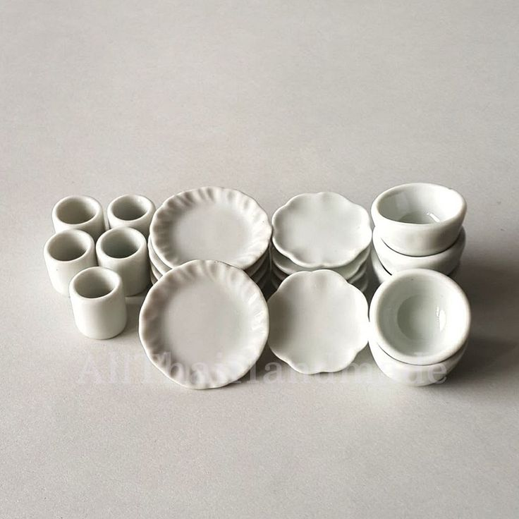 20xWhite Kitchenware Plate Dish Cup Bowl Dollhouse Miniatures Ceramic Supply Mix #AllThaiHandmade