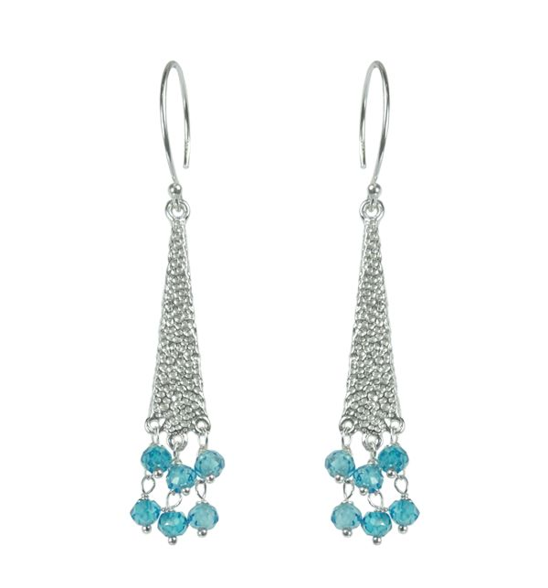 Mounir textured sterling silver fish hook earrings with a cluster of blue zircon faceted beads. Retailing at £57. http://www.mounir.co.uk/index.php?route=product/product&path=60_113&product_id=1988 #mounir #jewellery #earrings #sterlingsilver #silver #bluezircon #blueearrings #zircon