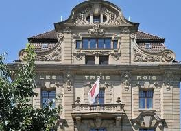 Les Trois Rois (The Three Kings) Hotel, Basel.  Proceed into hotel to taste Michelin Stars.