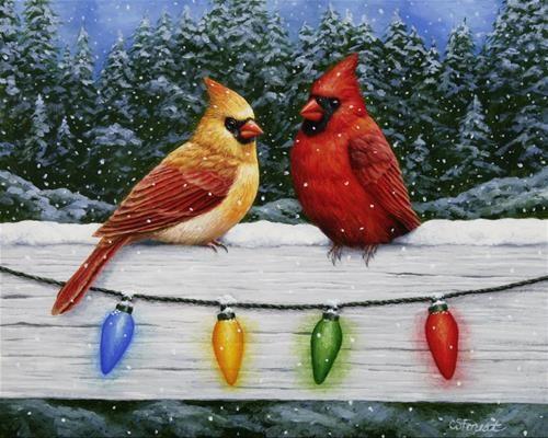 """Christmas Light Cardinals"" - Original Fine Art for Sale - © Crista Forest"
