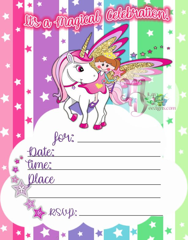 Unicorn Birthday Party Invitation Printable Rainbow Unicorn Birthday Party Invitation Unicorn Fa Unicorn Invitations Online Party Invitations Invitations Party