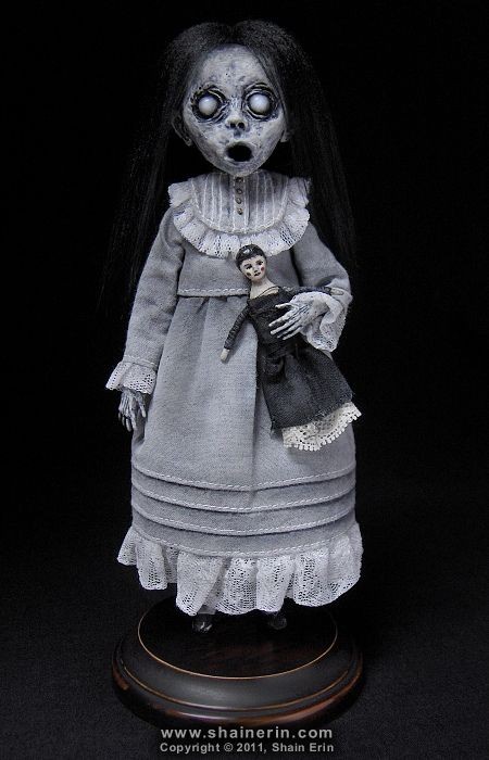 Christina - Ghost Art Doll Figurine  Handmade Art Doll. 8 inches tall. Mixed media.  Copyright © 2011, Shain Erin. All rights reserved.