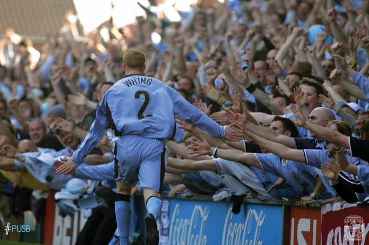Andy Whing celebrates scoring the final goal at the stadium in April 2005