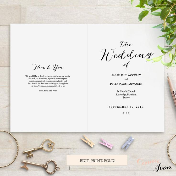 The 25+ best Wedding ceremony booklet templates ideas on Pinterest - wedding template