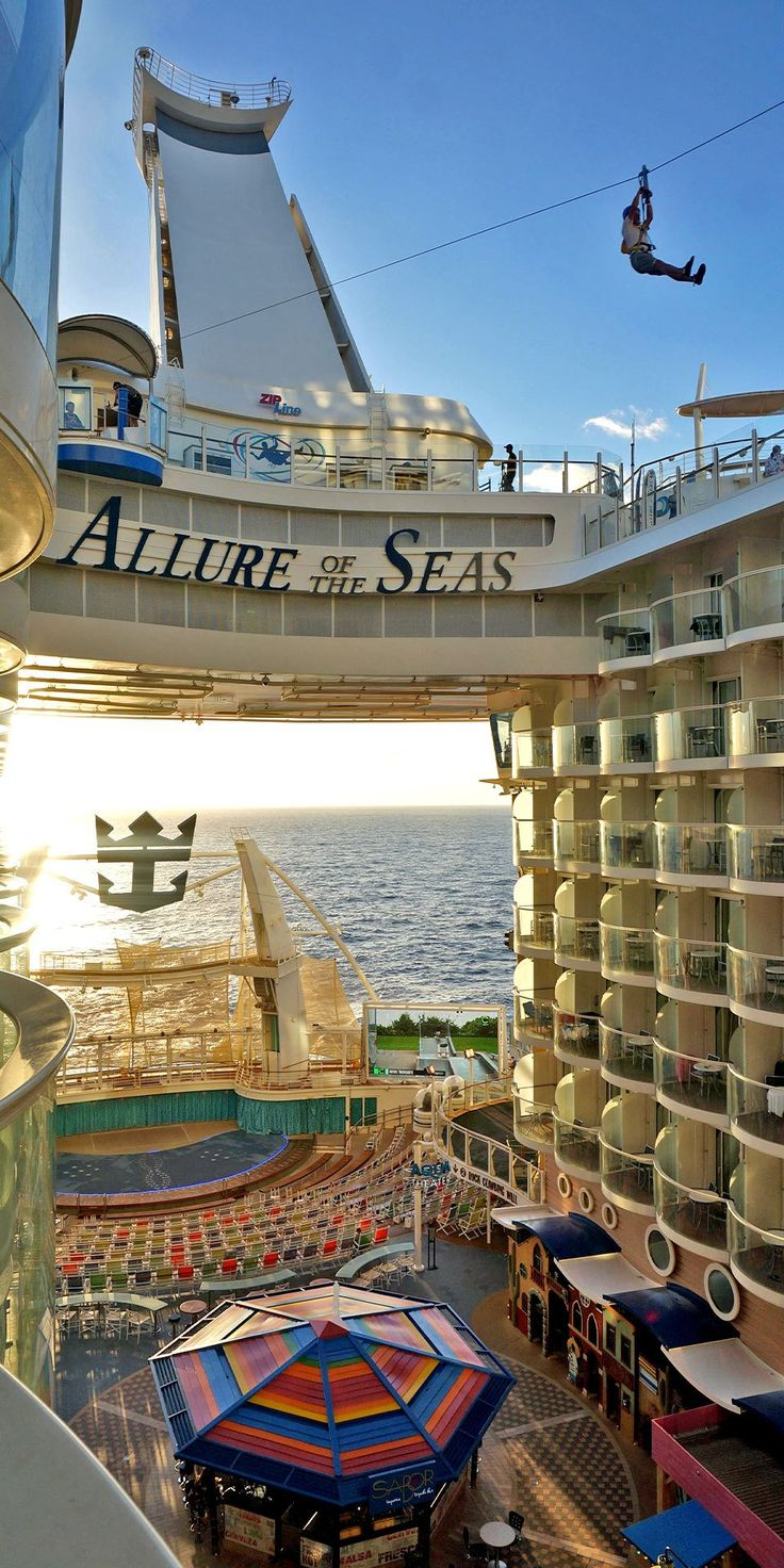 Allure Of The Seas Zip Line Across The Top Deck Of Allure Of The Seas Yes You Read That Correctly Cruise Travel Cruise Ship Royal Caribbean Cruise Lines
