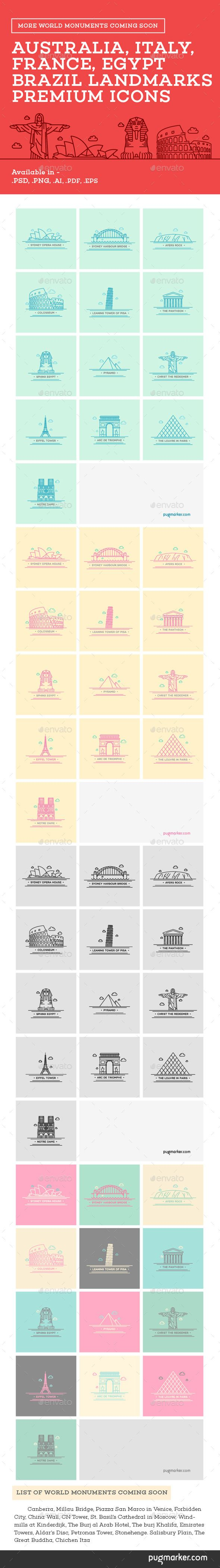 World Landmarks Icons - Vol. 1 You can download it from here http://graphicriver.net/item/world-landmarks-icons-vol-1/10655596?ref=PugMarker