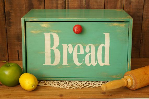 This bread box is a fun retro accent for any kitchen! This teal and red wood Bread Box / Breadbox is a beauty! This is vintage upcycled