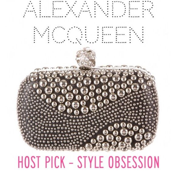"""Alexander McQueen Skull Box Clutch - Retail $2450 HOST PICK - STYLE OBSESSION - 7/4/16! ❤️ Like new Alexander McQueen black leather box clutch with silver-tone stud embellished patchwork throughout, metal frame and Swarovski crystal embellished skull clasp closure at top. Huge statement piece & hard to find!!!! All pics are of actual handbag. Includes box. Always authentic! Measurements: Height 4"""". Width 6"""". Depth 2"""". Retail $2450.           ✅Always Authentic✅ ⬇️Bundle & Get 10% Off & Save…"""
