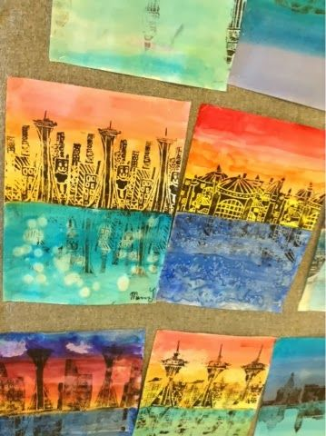 Art at Becker Middle School: Architectural Printing and Castle Value Drawings painting watercolour