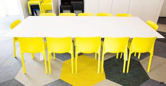 sir john cass hall long yellow meeting room chairs