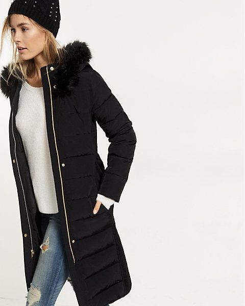 down filled long belted puffer coat