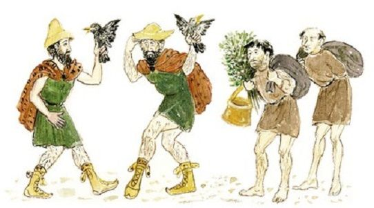 O Πεισέταιρος και ο Eυελπίδης, συνοδευόμενοι από δύο δούλους, αναζητούν «τόπο ήσυχο». (Σκίτσο της Λεμονιάς Aμαραντίδου.)