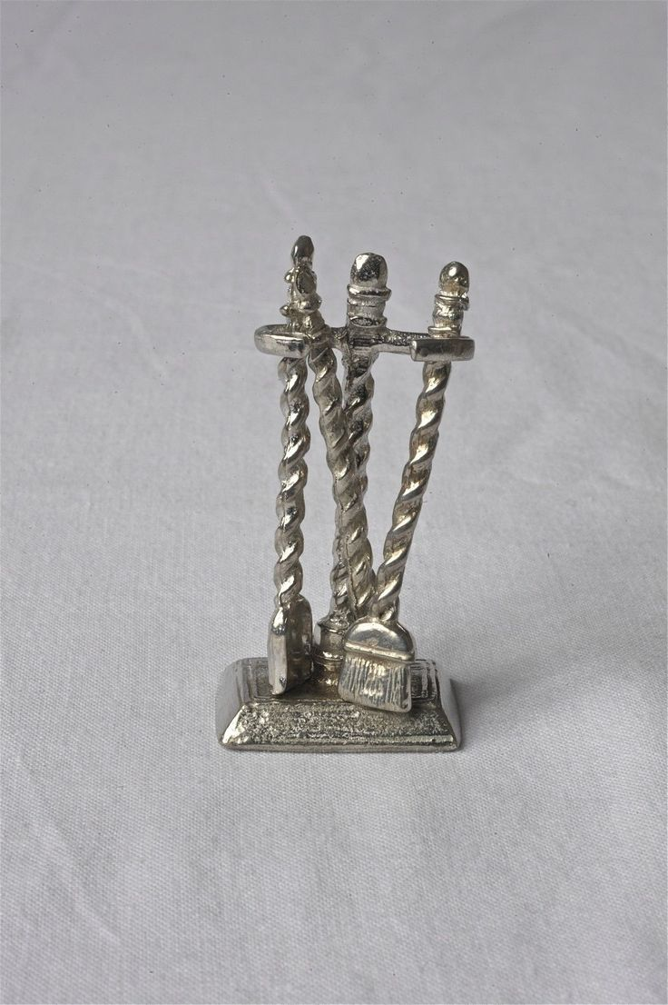 Dollhouse Miniatures Pewter Fireplace Tool Set Colonial Craftsman | eBay
