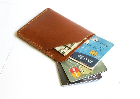 Slanke creditcard portemonnee leer kaarthouder door MihaiLeather
