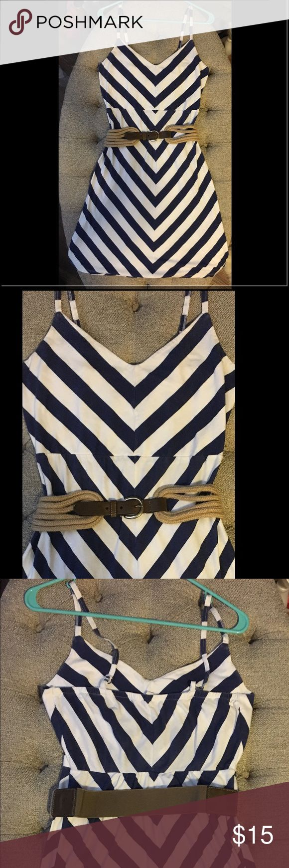"""Old Navy Chevron Print Nautical Dress Ahoy! ⚓️⛵️Super cute, flattering, trendy chevron print dress from Old Navy! Navy blue/White, stretchy cotton fabric, perfect for summer! Great condition, no stains/holes/tears. Belt is separate but if you love it then let me know and we can bundle! Faux leather and rope belt from Nordstrom, unsure of brand, elastic back.  Dress: Bust-17"""", W-14"""",L-34"""".  Belt:L-35.5"""", W-2"""" Old Navy Dresses"""