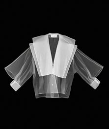 Gianfranco Ferré, Sailor Glam shirt, S/S 1982, prêt á porter, look 84. Silk organza, honeycomb patterned cotton pique. X-Ray simulation image by Leonardo Salvini. Courtesy of Gianfranco Ferré Foundation.